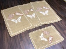 ROMANY GYPSY WASHABLE FULL SET OF TOURERS SIZE 67X120CM MATS/RUGS BISCUIT/CREAMS